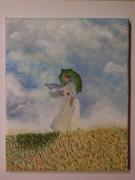 tableau personnages femme parasol champ ciel : Femme au parasol