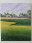 tableau paysages champ fleurs pre campagne : Champ fleuri