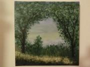 tableau paysages arbres foret verdure soleil : Clairiere verdoyante