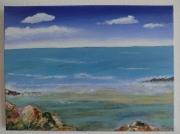 tableau marine mer paysage plage : Mer calme - vendu