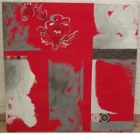 La vie en rouge. Tableau contemporain abstrait rouge et gris