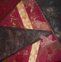 Géométrie florale. Tableau contemporain abstrait  marron fuchsia