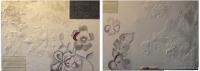 Blanches fleurs. Tableaux diptyque contemporains abstraits blanc