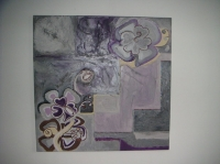 Fleurs abstraites. Tableau contemporain abstrait violet parme et