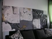 tableau fleurs tableaux contemporain abstrait noir : En noir et blanc. Tableaux triptyque  contemporains abstraits no