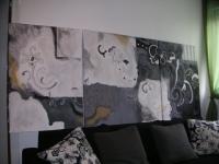 En noir et blanc. Tableaux triptyque  contemporains abstraits no