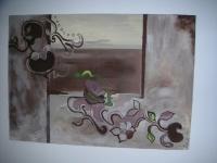 Guirlande de fleurs. Tableau contemporain abstrait marron beige