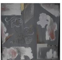 Abstract flowers. Tableau contemporain abstrait gris et blanc