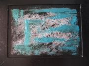 tableau abstrait contemporain lignes aqua : Aqua