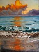 tableau marine mer nuage plage : le feu et l'eau