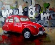 tableau autres 2ch voiture rouge street art : 2 ch
