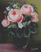 tableau fleurs fleurs roses bouquet : 4 roses