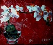 tableau fleurs fleur orchidees japon vase : orchidées