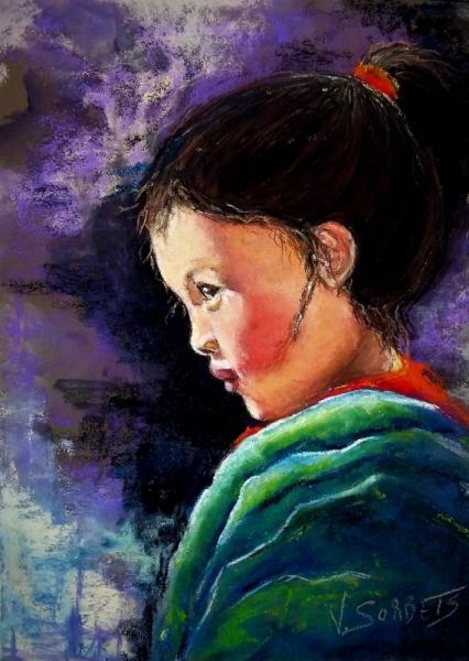 TABLEAU PEINTURE portrait enfant Personnages Pastel  - la petite népalaise