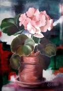 tableau fleurs geranium fleurs rose pot : géranium