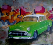 """tableau autres voiture cuba vert rose : """"la belle americaine"""""""