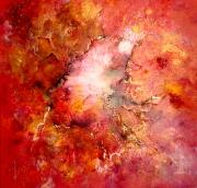 tableau abstrait voyage centre terre rouge : Voyage au centre de la terre
