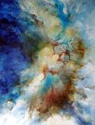 tableau abstrait bleu blanc miroir univers : Le miroir de l'Univers