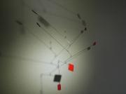 sculpture abstrait mobile metal equilibre mouvement : Carrés rouges