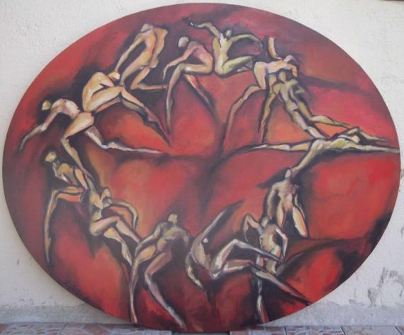 TABLEAU PEINTURE mouvement corps cercle irréel Personnages Peinture a l'huile  - rotondo