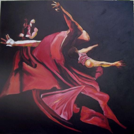 TABLEAU PEINTURE corps mouvement drapé danse Personnages Acrylique  - danse