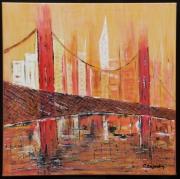 tableau paysages paysage pont new york building : BRUME SUR NEW YORK