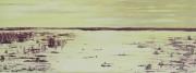 tableau marine marine mer jaune : COUCHER DE SOLEIL SUR LA BAIE DE SOMME