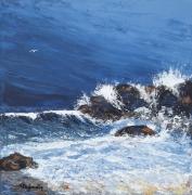 tableau marine marine rochers vagues mer : LE DEFI DU VENT