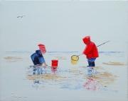 tableau marine marine plage sable enfants : LES DEUX PETITS PÊCHEURS