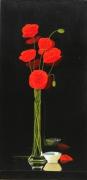 tableau fleurs fleurs coquelicots vase noir : LE VASE