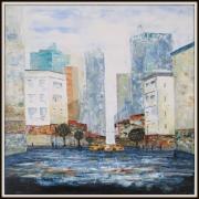 painting villes ville bleu blanc : YELLOW CABS