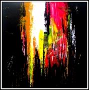 tableau abstrait abstrait noir rouge : UN PARFAIT DU SUBJECTIF
