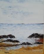 tableau marine marine mer bleu rochers : LA PASSE