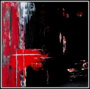 tableau abstrait abstrait noir rouge : BORDER LINE