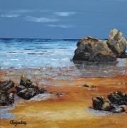 tableau marine marine plage mer rochers : LES ROCHERS DE LA PLAGE