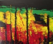 tableau abstrait eau abstrait noir vert : MIROIR D'EAU
