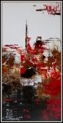 tableau abstrait abstrait rouge marron : SPIRIT TOWER