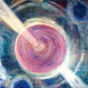 tableau abstrait abstrait bleu rose : percer l'obscurité