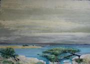 """tableau paysages mer rochers arbres soleil : """" Les résistants"""""""