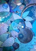 tableau abstrait fleur vie bleu : Bleu de vie