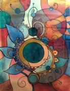 tableau abstrait rond multicolore courbes : Egosme primaire