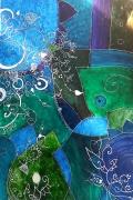tableau abstrait vert paillette courbes : Vert-sion