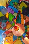 tableau abstrait rond courbes ethnique : Apparition