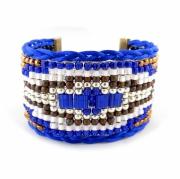 bijoux abstrait bracelet manchette navajo etchnique : Bracelet manchette HAPPO ethnique navajo bleu cobalt argent