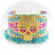 bijoux abstrait bracelet manchette mort rock : Bracelet rock brésilien friendship rose bleu doré