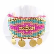 bijoux abstrait manchette perle bleu boheme : Bracelet brésilien friendship sequin rose bleu doré