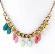 bijoux abstrait collier gourmette xxl goutte : Collier chaine XXL goutte rose vert doré