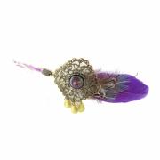 bijoux fleurs headband plume violet mariage : Headband LORA plume violet vert et bronze estampe