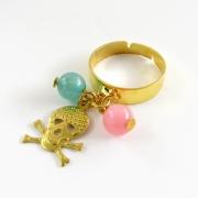 bijoux abstrait bague mort rock bleu : Bague LOLI Rock tête de mort rose, bleu turquoise et doré