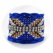 bijoux abstrait bracelet manchette perle strass : Bracelet manchette brésilien friendship HAPPO bleu roi et argent